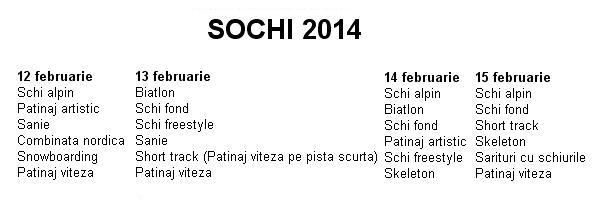 Programul Jocurilor Olimpice de Iarnă de la Sochi 2014